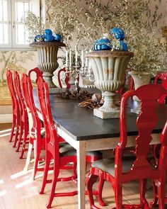 Red lacquered chairs