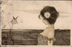 Raphael Kirchner ~  Art Nouveau Postcard ~ Circa 1900 artists, dates, kirchner 1900, beauty, nouveau postcard, bette davis, anime, raphael kirchner, art nouveau
