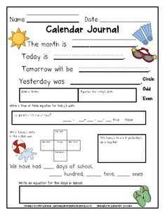 Calendar Journals to keep students engaged during calendar time or use as a center
