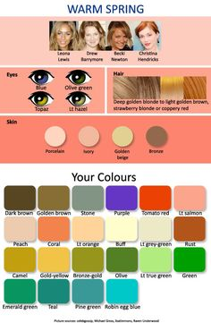 Warm Spring warm autumn, color palettes, hair colors, eye colors, spring colors, deep autumn, warm spring, color charts, light spring