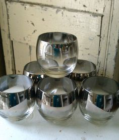 Set of Six Vintage Retro Ombre Silver Cocktail Tumblers $30