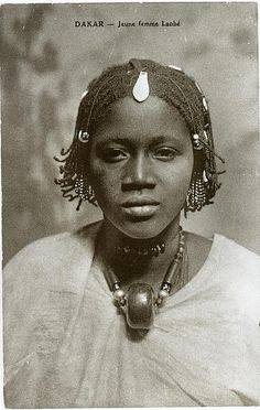 Africa |  Vintage postcard of a young Laobé woman, photographed in Dakar, Senegal