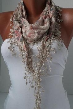 Beige Shawl Scarf - Headband - Cowl with Lace Edge - Spring Trends $15.50