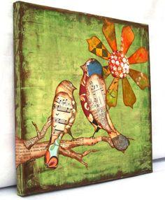 Birds and flower art.