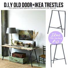 Table from old door & Ikea trestles