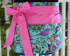 Mommy Apron - Teal Purple Bird with Pink Polka Dots