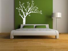 plant, birch, headboard, bed frames, tree, wall stickers, quot, bedroom, vinyl wall decals