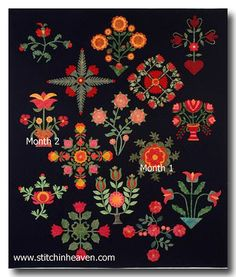 Second Month of my Red and Green Block of the Month Quilt stitchinheaven via Flickr