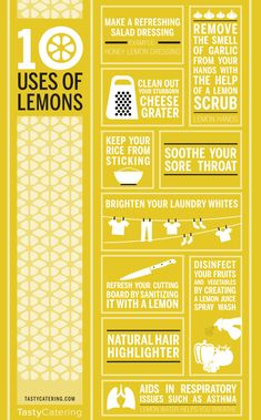 Before you reach for those harsh, chemical solutions, try a lemon! Here's 10 different uses for lemons #infographic #lemons