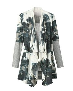 Printed knit duster (in black cherry)