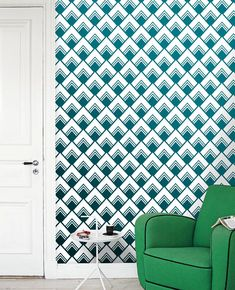 Removable self-adhesive vinyl Wallpaper wall decal - Diamond pattern sticker  C013 wall treatment home decor design green