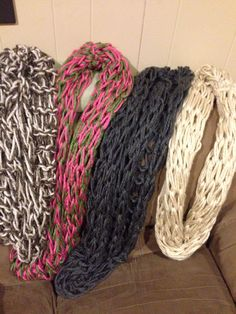 #DIY arm knitted scarves