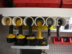 tool organizer, power tool, pvc pipe
