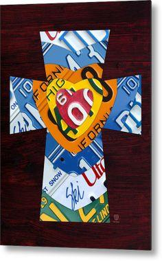 Cross With Heart Rustic License Plate Art On Dark Red Wood Metal Print.