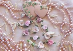 Pastel pink hearts and pearls