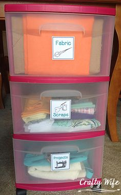 Rolling Fabric Storage Cart with Labels