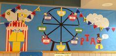 bulletin board idea for Fall school carnival