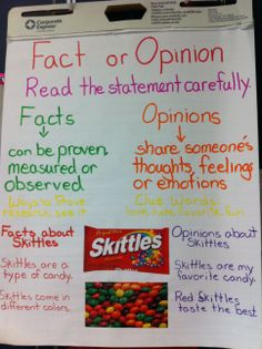 Fact Opinion Anchor Chart-using Skittles. Kids could definitely relate to this.