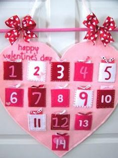 valentine count down- fill with activities- read Valentine book, make Valentine cards, decorate heart cookies...