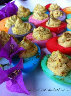 Dyed Deviled Eggs for Easter!