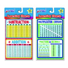 Teaching new math concepts? Make it easy with Learning Charts! These charts are perfect for helping your child or student find the right answers! Have them try it on their own and check their answer using the chart!  Available exclusively at Dollar General for just $1!