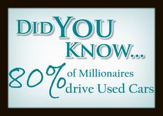 80% of Millionaires drive Used Cars  #CarFacts #Cars #Facts #UsedCars