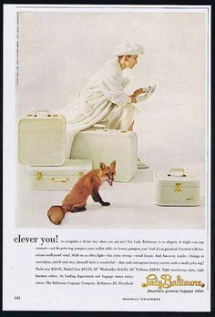 1957 Lady Baltimore Luggage Fox Photo Print Ad
