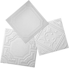 styrofoam ceiling tiles- an easy way to cover your ceiling. Can be applied to uneven surfaces (eg.popcorn ceilings); adds insulation and can be painted with a water-based paint. Wow - great idea!