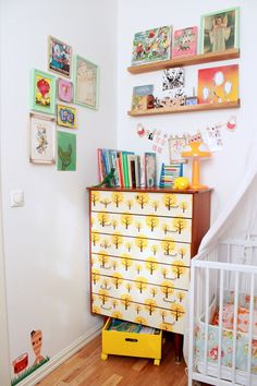 Picture rails & photo frames. ferm living wallpaper, kids rooms decor, ferm live, modern interior, live wallpap, kid rooms, chest of drawers wallpaper, dresser drawers, kids interior