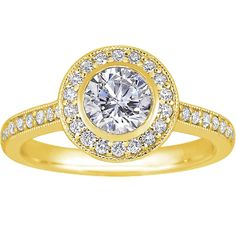 18K Yellow Gold Round Bezel Halo Diamond Ring with Side Stones (1/3 ct.tw.) from Brilliant Earth