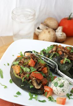 Stuffed Poblano Peppers | Ruled Me