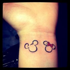 tattoo ideas, family tattoos, minnie mouse, wrist tattoos, matching tattoos, a tattoo, disney tattoos, couple tattoos, hidden mickey