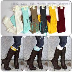 Adult boot socks - ruffle lace button boot socks