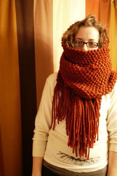 Giant #knit scarf pattern.  Love the texture and long fringe.