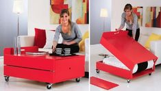 Build a sofa table that converts into a guest bed. DIY. Rockler.