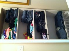 My sorting solution! Now kids get their clothes from their shelf and put away clothes. No more baskets