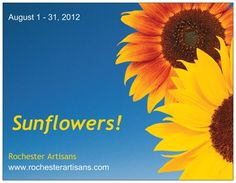 Front of postcard advertising our month long sale of sunflower-themed works of art! #rochesterartisans