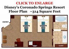 Updated floor plan: Disney's Coronado Springs Standard Room Floor Plan from yourfirstvisit.net (1280x919)