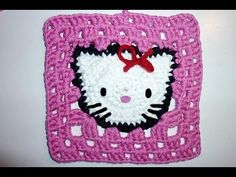 Hello Kitty granny how to video clip,  Video hard to see working with white yarn.