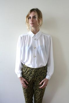 Vintage 80s White Silky Victorian Blouse // Button Up with Lace. $38.00, via Etsy. #vintage #fashion #style #etsy #fallfashion #womensclothing #fallstyle #clothing #shops #shopping #fall
