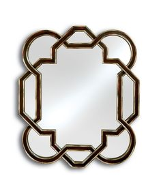 Contemporary mirror with geometric touch, Aubergine finish with silver accents.