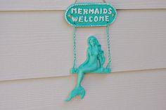 Beach Decor Cast Iron Mermaids Welcome Sign by ByTheSeashoreDecor