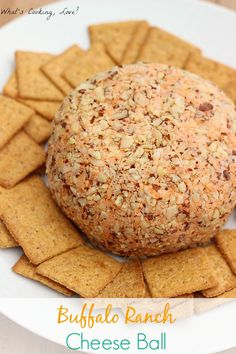 Buffalo Ranch Cheese Ball. This cheese ball combines the flavors of buffalo sauce and ranch dressing. It is the perfect appetizer for any party. #AppetizerWeek #cheeseball #buffalo #ranch
