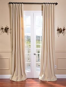 British Tan Vintage Cotton Velvet Curtain - $89.00 Bedroom and Dinning Room Curtains.