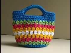 Cluster Stitch Bag Crochet Tutorial - Idea's for hat #crochet #videotutorials - YouTube