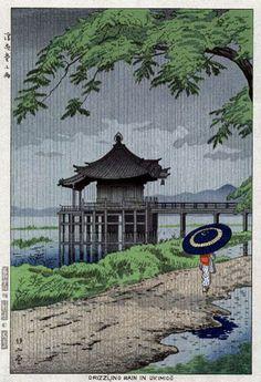 Drizzling Rain in Ukimido  by Takeji Asano, 1953