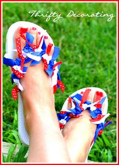 Flip flops decorated for 4th of July
