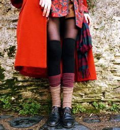 Triple over-the-knee socks, layering.