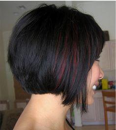 Peekaboo highlights - red with black hair