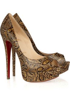CHRISTIAN LOUBOUTIN  Lady Peep 150 textured leather pumps